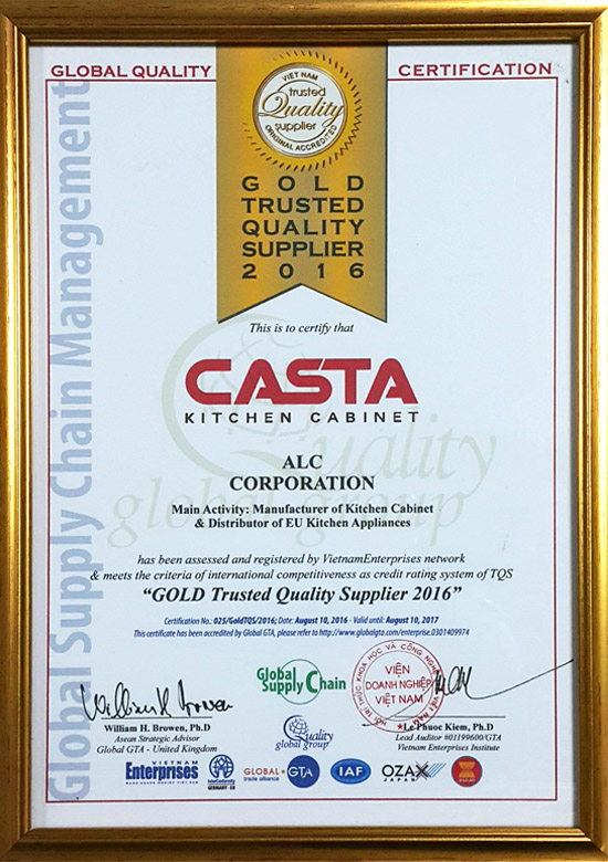 CASTA nhận giải thưởng GOLD Trusted Quality Supplier 2016